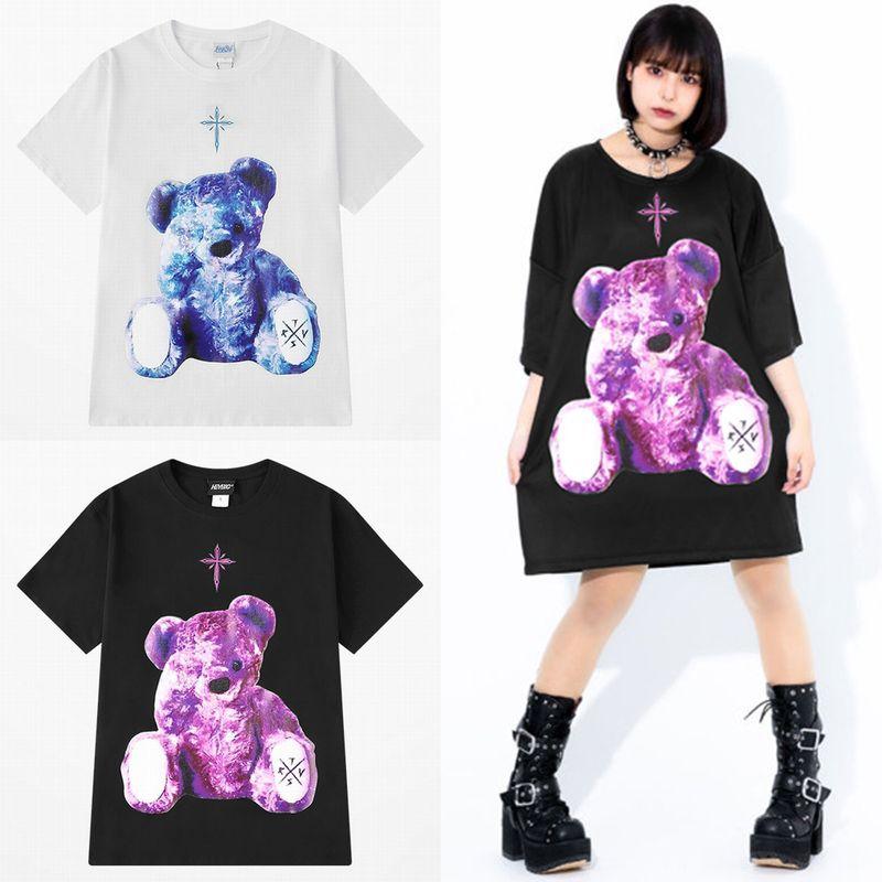 ユニセックス Tシャツ 半袖 メンズ レディース ラウンドネック クマちゃん ベアー バックプリント オーバーサイズ 大きいサイズ ルーズ ストリート