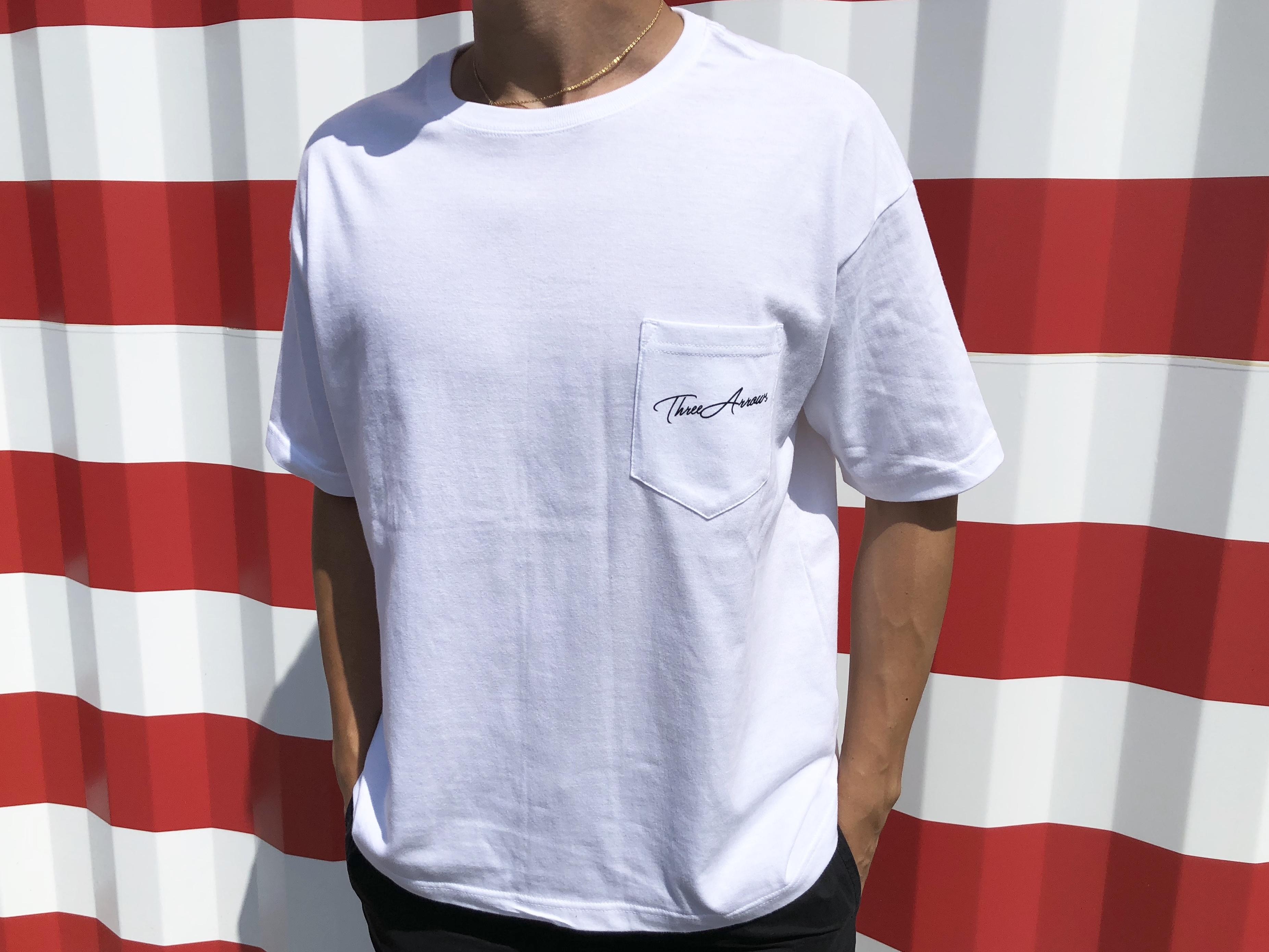 【7/10 21:00 Re stock】ThreeArrows ポケット付きBIGシルエットTシャツ(white)