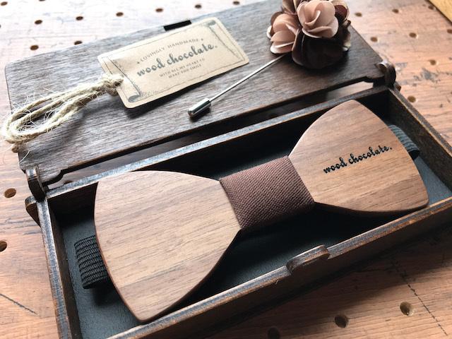 木製 蝶ネクタイ #Brown walnut - 画像3