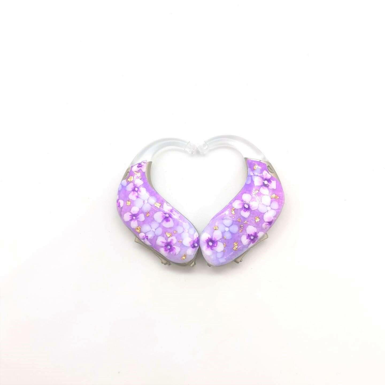 おしゃれ 補聴器デコチップ 紫フラワーチップ