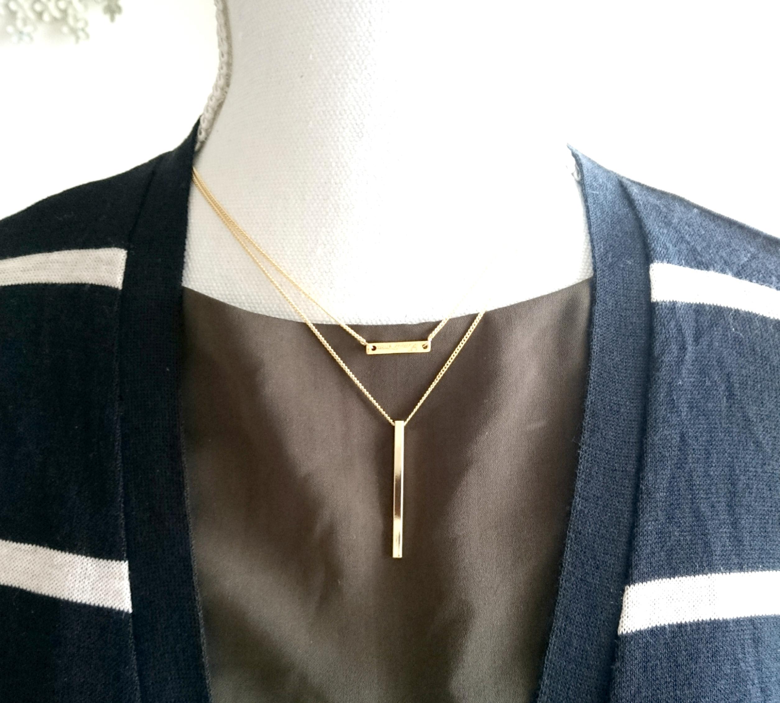 シンプル二連ネックレス ゴールドカラー