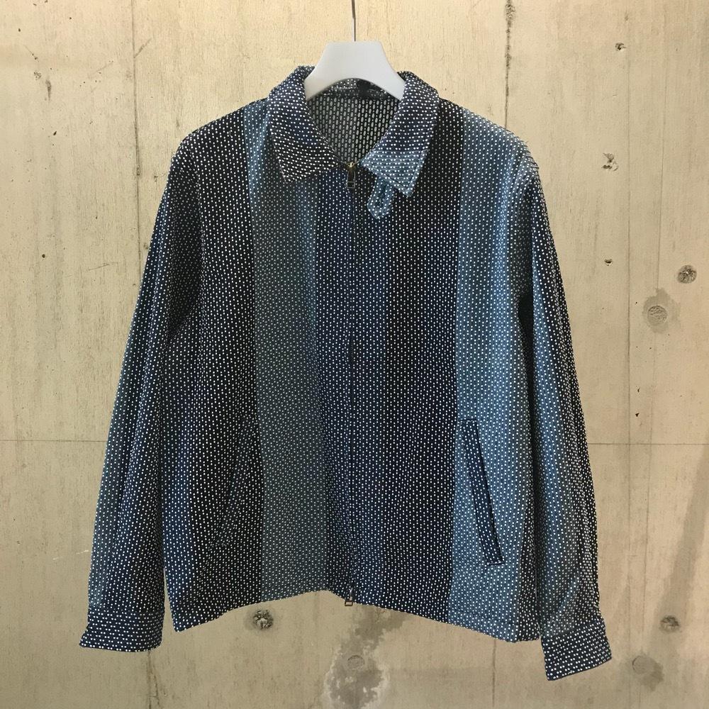 KUON カツオ縞藍染刺し子 ドリズラージャケット