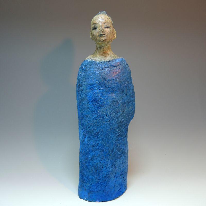 陶器の絵付け女性像 (船越保氏作)F32