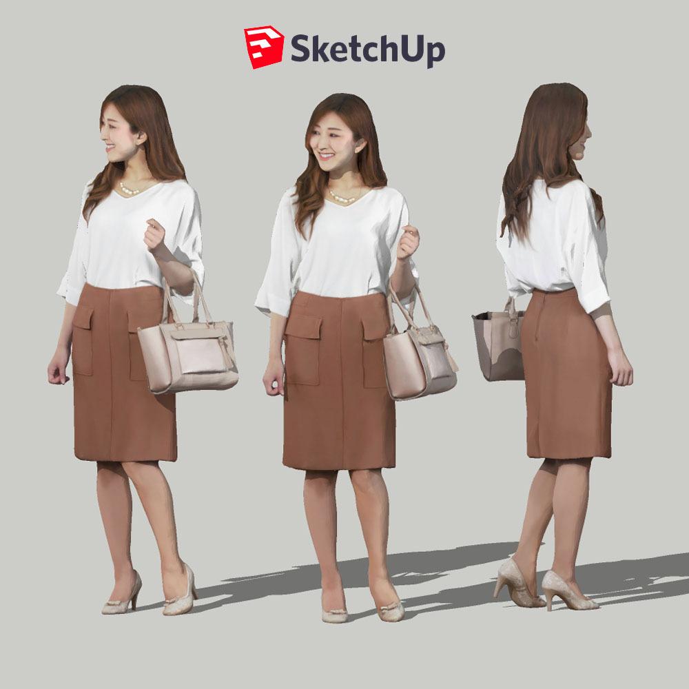 SketchUp素材 3D人物モデル ( Posed ) 051_Mao - 画像1