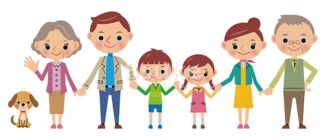 イラスト素材:仲良し3世代家族(ベクター・JPG)
