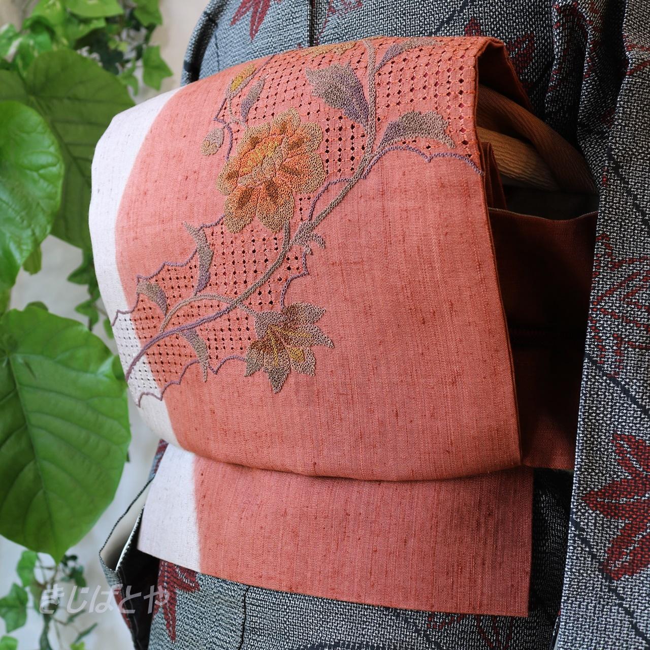 正絹紬 蘇芳と都鼠のなごや 相良刺繍とスワトウ