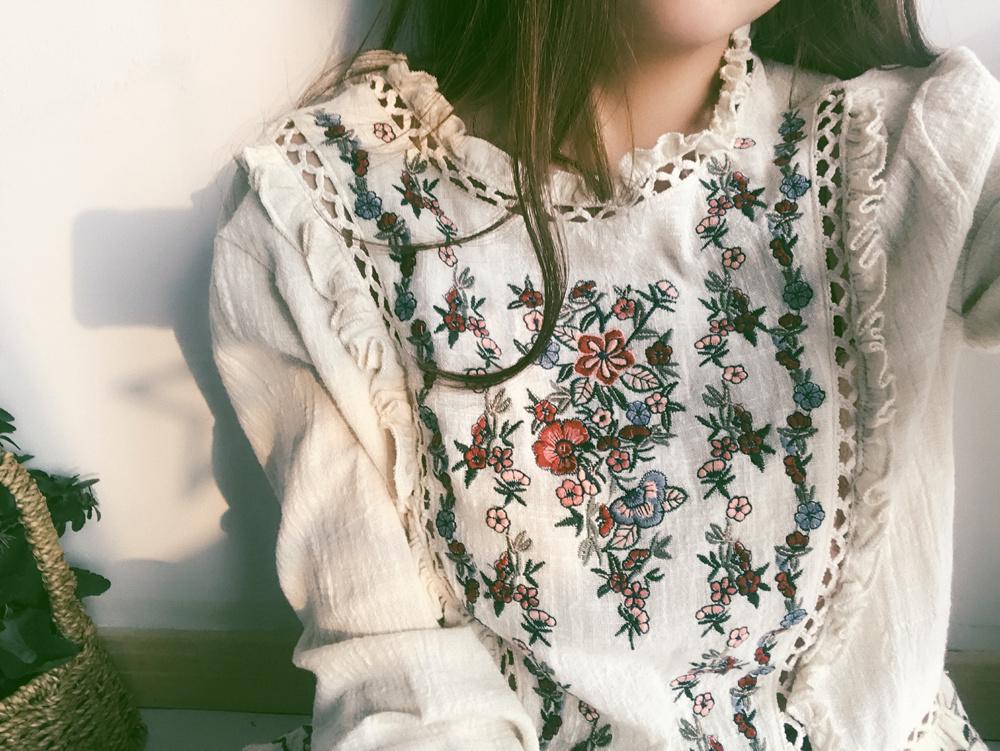 花柄 刺繍 麻 トップス 送料無料 lt112