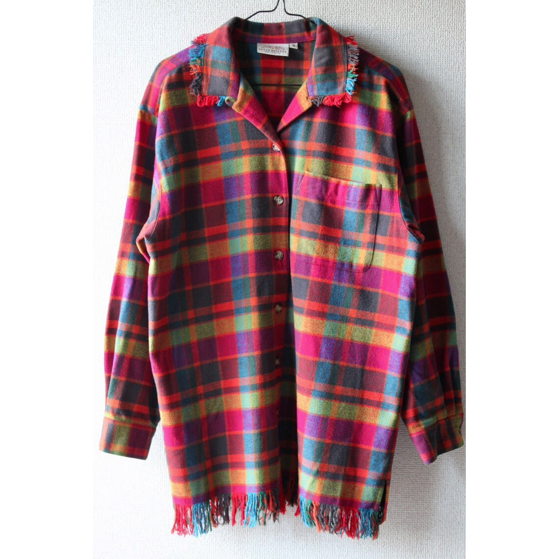 Vintage fringe check shirt