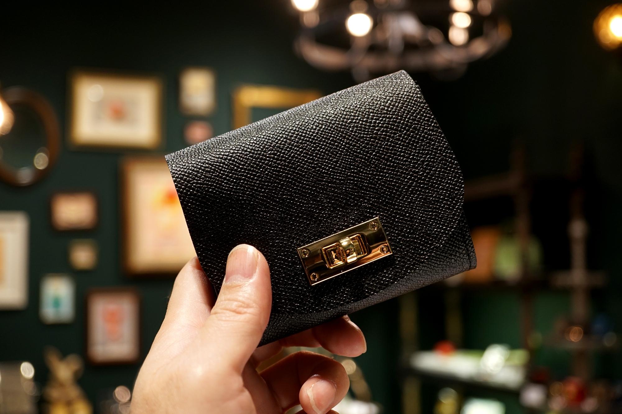 身軽にキメたい時のコンパクト財布|T式/パーティーレザー・ブラック(本革製)