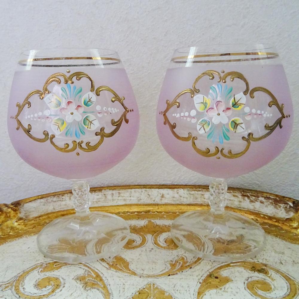 チェコスロバキア フラワーモチーフ ピンクのグラス 2客セット