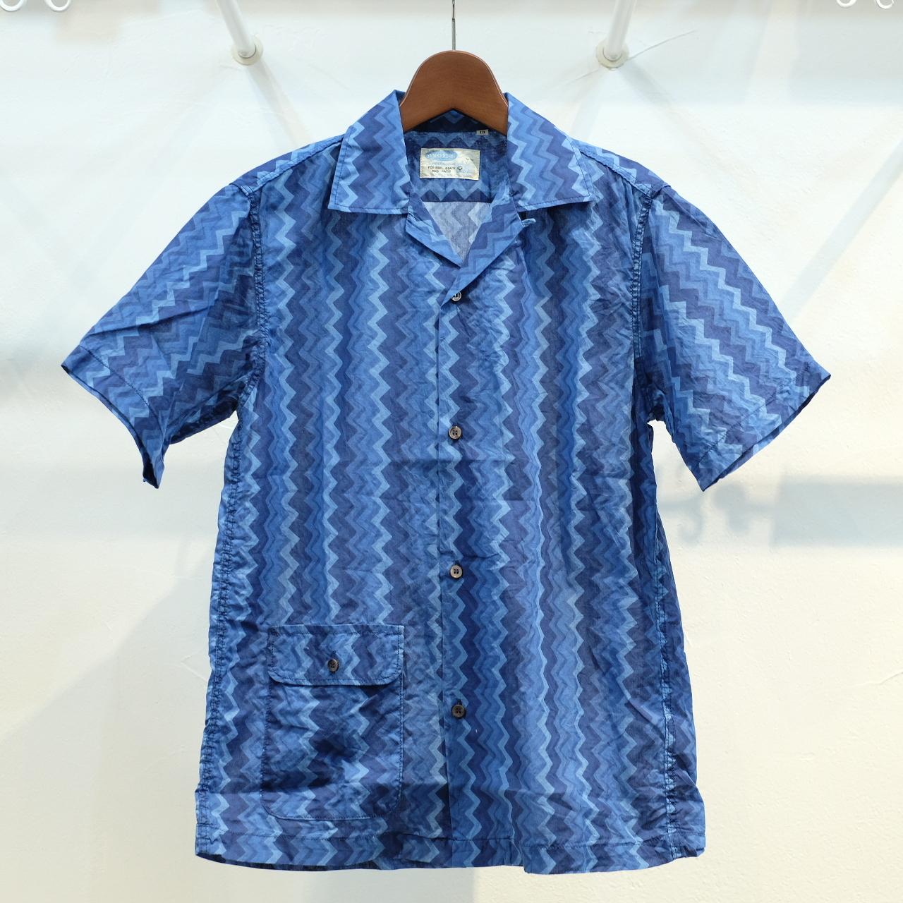 Workers(ワーカーズ) ローラープリント オープンカラーシャツ ブルー