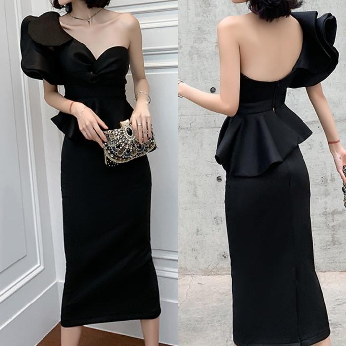 ワンショルダー ペプラム タイトドレス