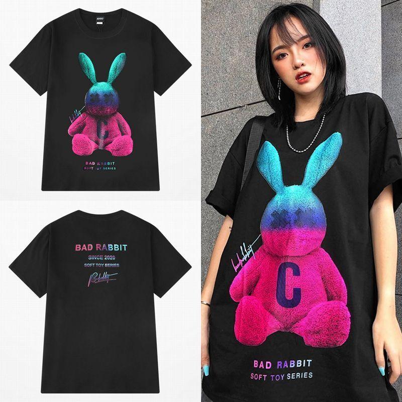 ユニセックス Tシャツ 半袖 メンズ レディース ラウンドネック ラビット うさぎのヌイグルミ プリント オーバーサイズ 大きいサイズ ルーズ ストリート