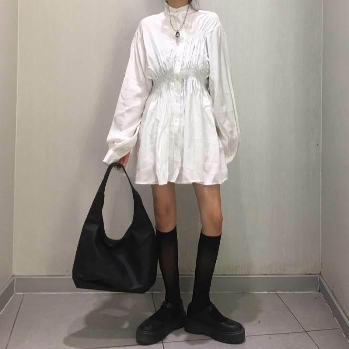 【送料無料】おしゃれな モード系 ♡ シンプル ボリューム袖 シャーリング シャツ ワンピ ミニ ワンピース