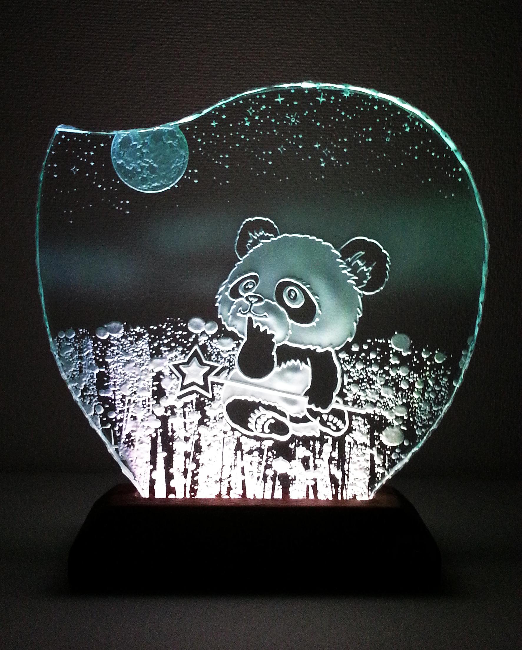 星遊び・パンダのガラスエッチングパネル Mサイズ・LEDスタンドセット