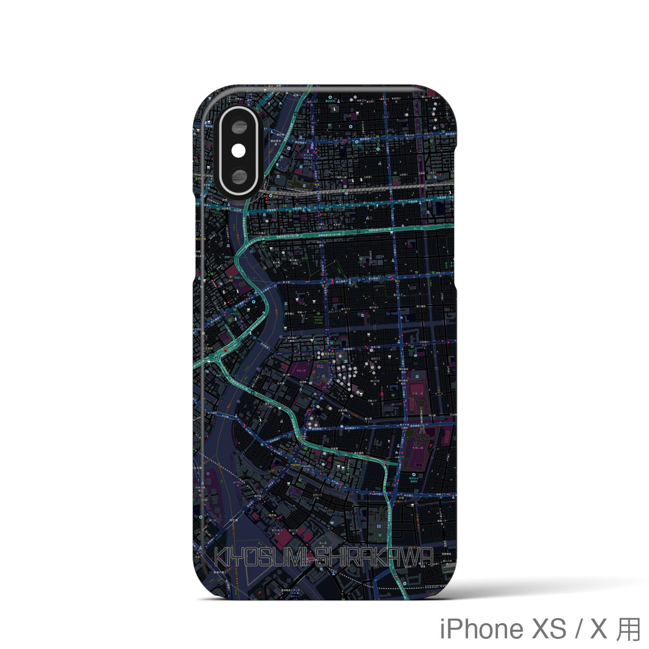 【清澄白河】地図柄iPhoneケース(バックカバータイプ・ブラック)