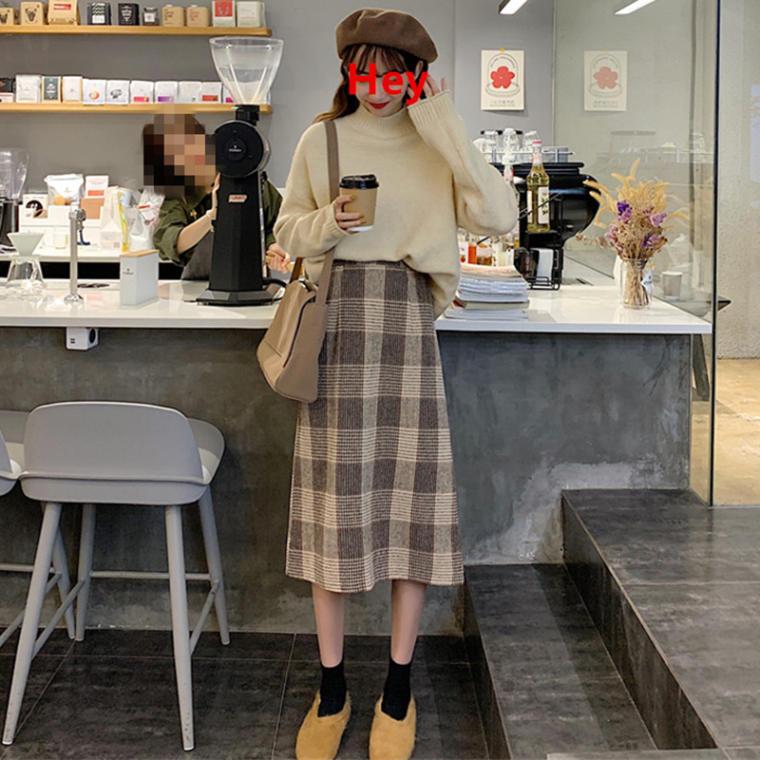 【送料無料】 ナチュかわコーデ♡ ハイネック プルオーバー ニット × チェック柄 ミモレ丈 ウール スカート セットアップ