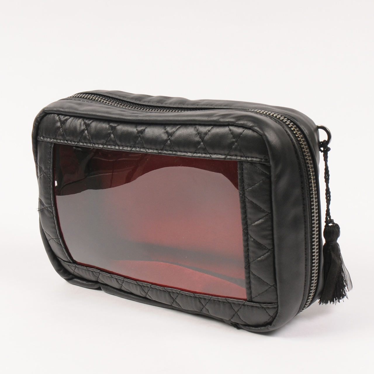 hs20SS-JR01 SQUARE POUCH -QUILTING (black)