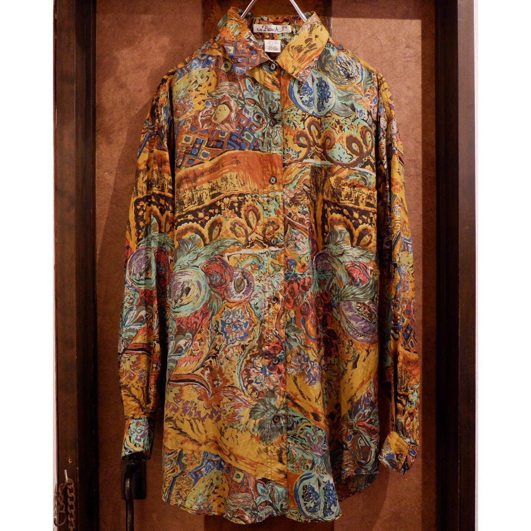 アメリカ古着 絵画柄 シルクシャツ
