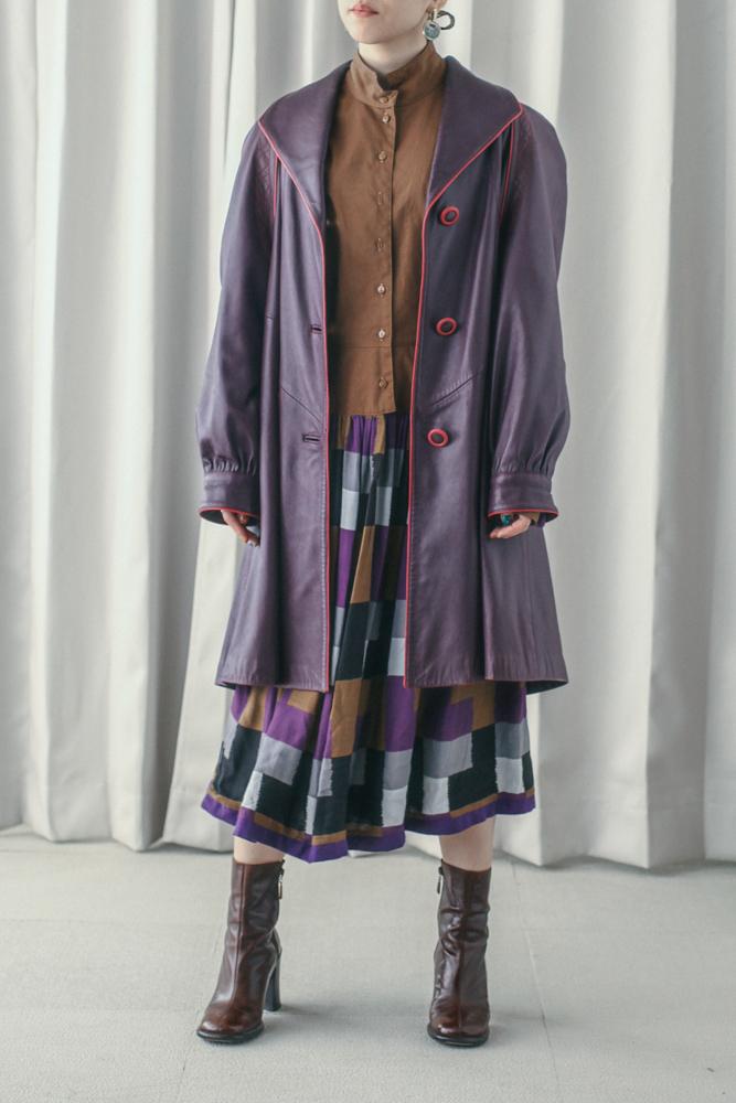 70's Purple Leather Coat