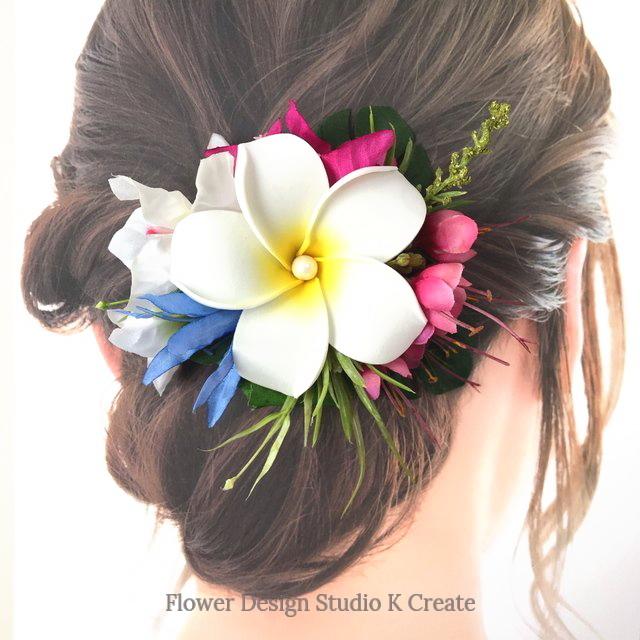白いプルメリアとブーゲンビリアのヘアクリップ 髪飾り トロピカル 造花 南国 フラ フラダンス