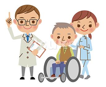 イラスト素材:医者(ドクター)と老人の車いすを押す介護福祉士(ベクター・JPG)