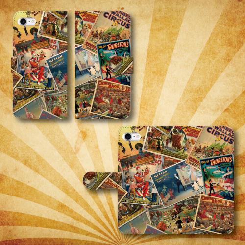 レトロポスター06/サーカス/ピエロ/アンティーク/iPhoneスマホケース(手帳型ケース)