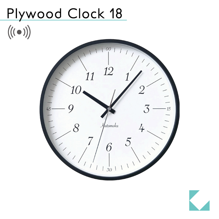 KATOMOKU plywood clock 18 km-110BRRC ブラック 電波時計