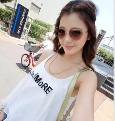 ハート♡型UVミラーサングラス【ブラウン】