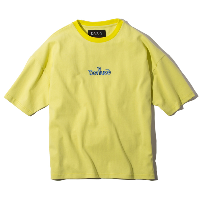 Deviluse(デビルユース) | Logo embroidered Big T-shirts (Ice Yellow)