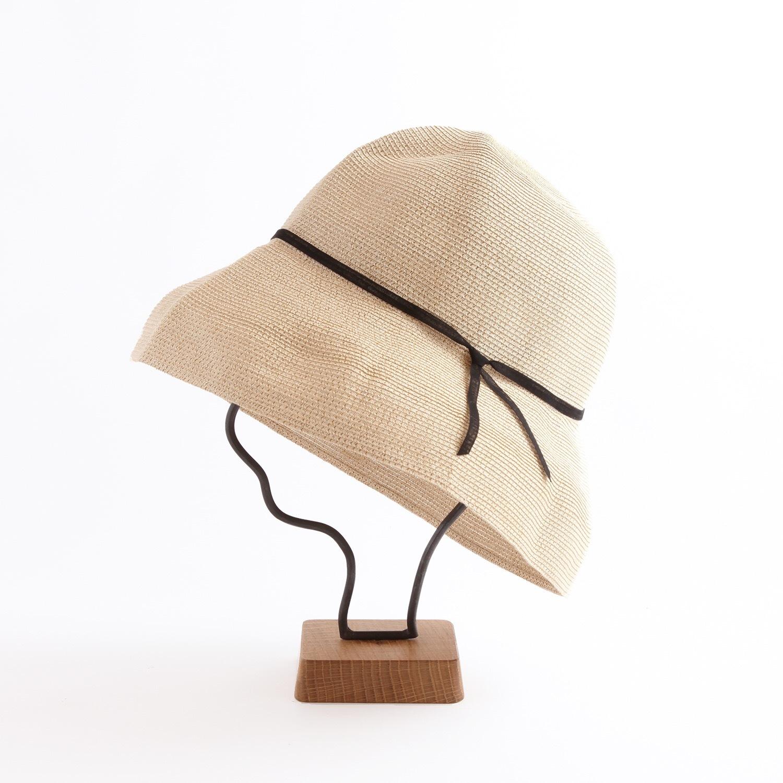mature ha./WP paper braid light hat wide/natural×black