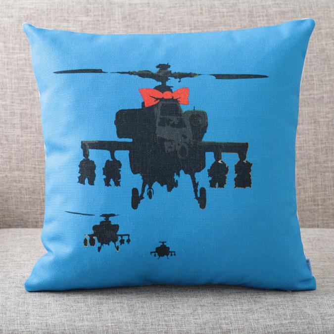 バンクシー Banksy クッションカバー Helicopter Bow Blue