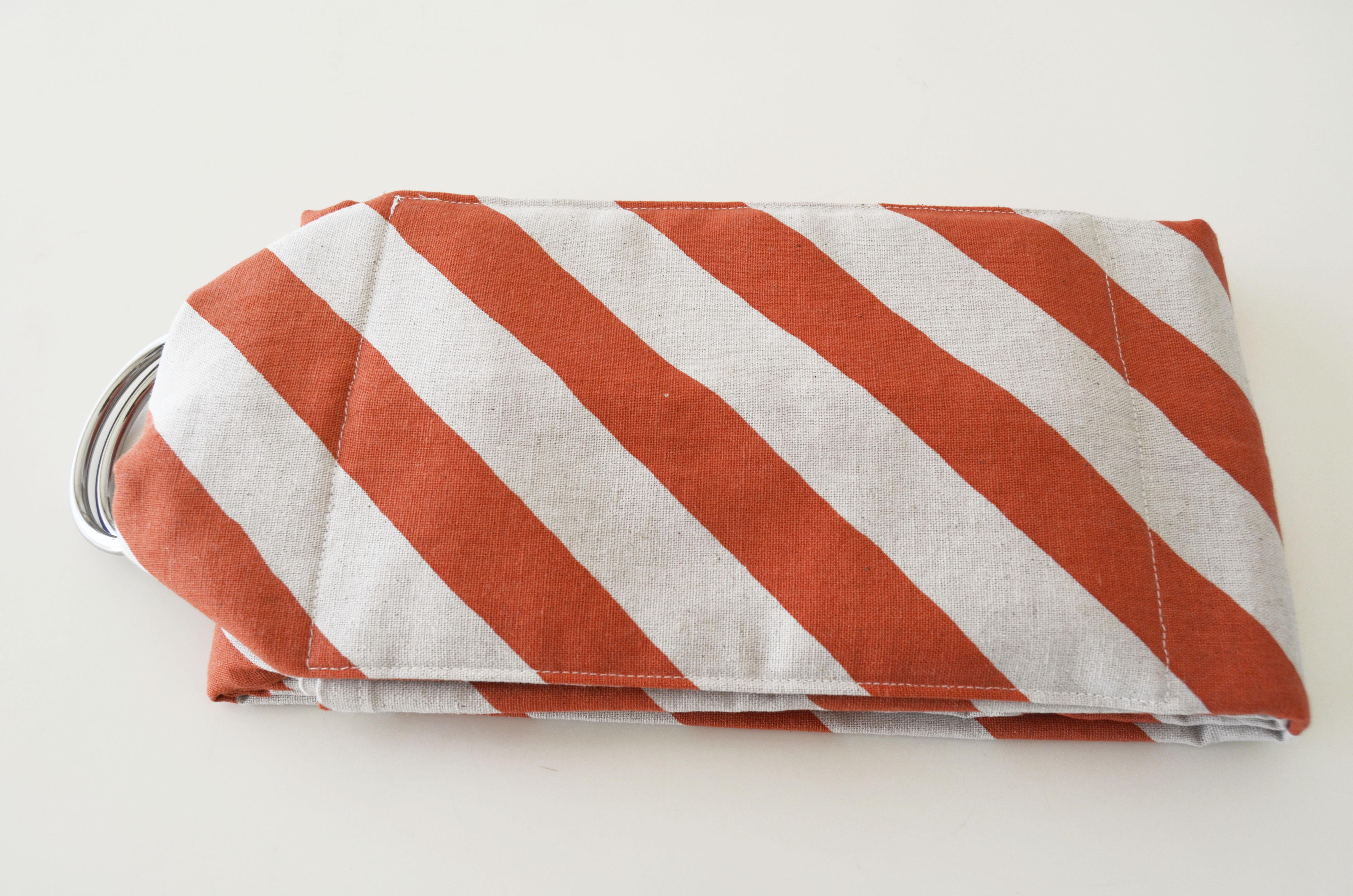 丸洗いできるベビースリング・日本製コットンリネン・オレンジ斜めボーダー