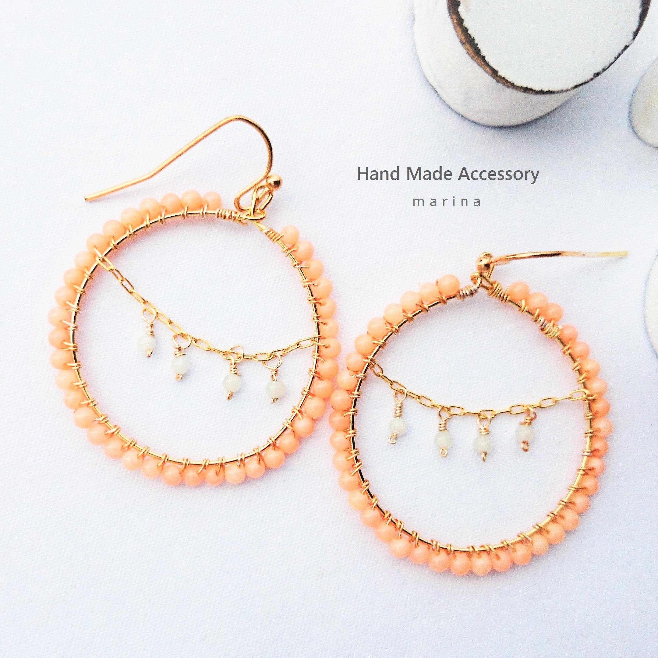 送料無料14kgf coral pink*chandelier wrapped pierce/earring