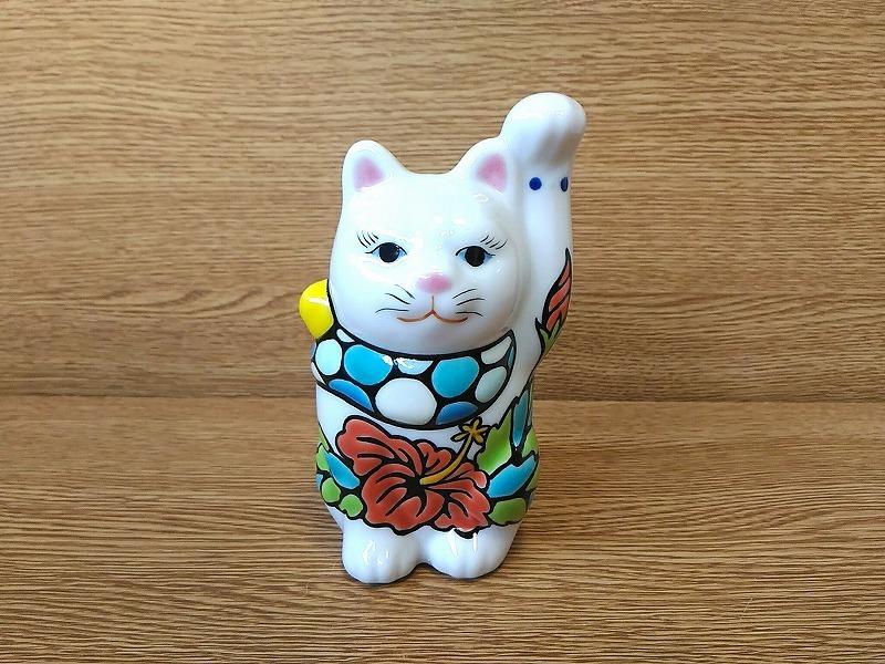招き猫4.5寸 ハイビスカス レッド