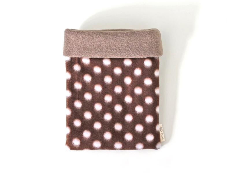 ハリネズミ用寝袋 M(冬用) フリース×フリース 水玉 チョコレート