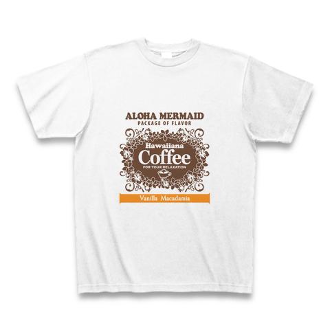 アロハマーメイド ヴァニラ マカダミア コーヒー ロゴ Tシャツ ホワイト AT002WT
