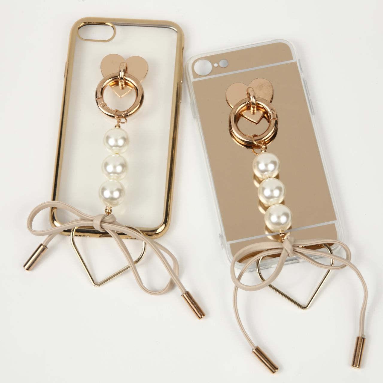 【即納★送料無料】選べる2タイプ かわいいパール&リボン付iPhoneケース