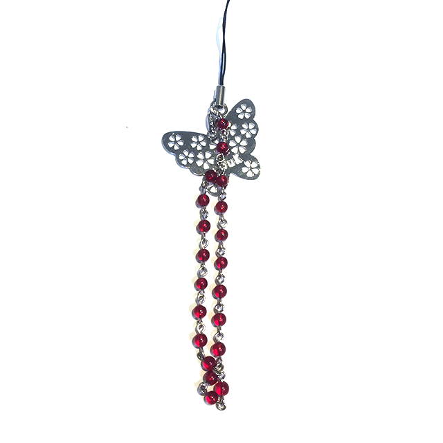 蝶と赤珠のストラップ/UKF24-A106