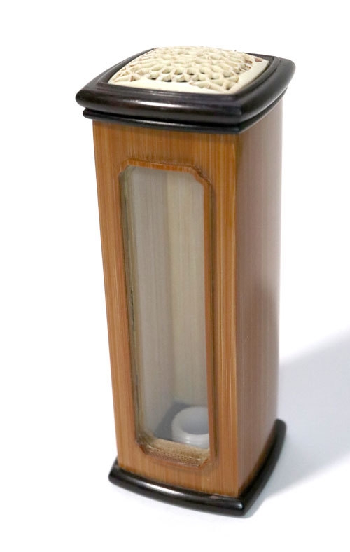 本煤竹角形虫管 一面玻璃