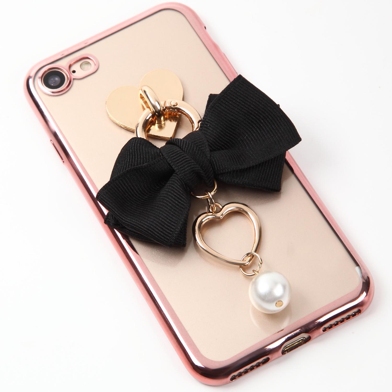 【即納★送料無料】縁ローズゴールドクリアケース ブラックのリボンにハートとパールのチャーム付iPhoneケース