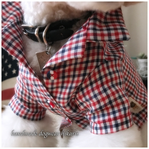 トリコロールリネン先染めチェックの半袖開襟シャツ 手作りワンコ服