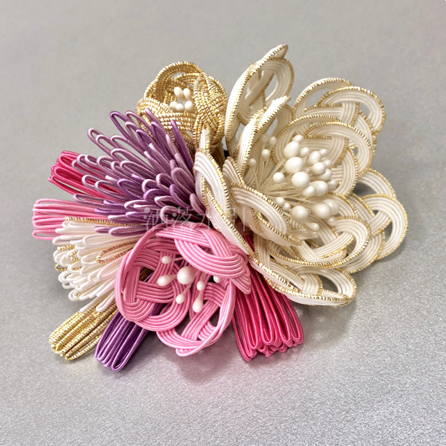 【受注販売品】花寄せの髪飾り 白・ピンク・シャンパンゴールド・淡藤色