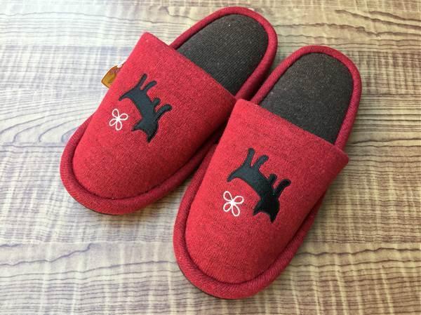 【4足セット】刺繍クロネコシルエット 外縫いスリッパ