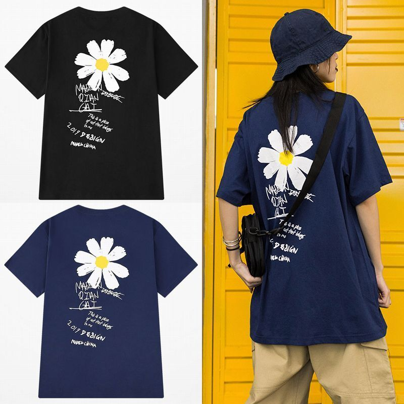 ユニセックス 半袖 Tシャツ メンズ レディース 英字 花 フラワープリント オーバーサイズ 大きいサイズ ルーズ ストリート
