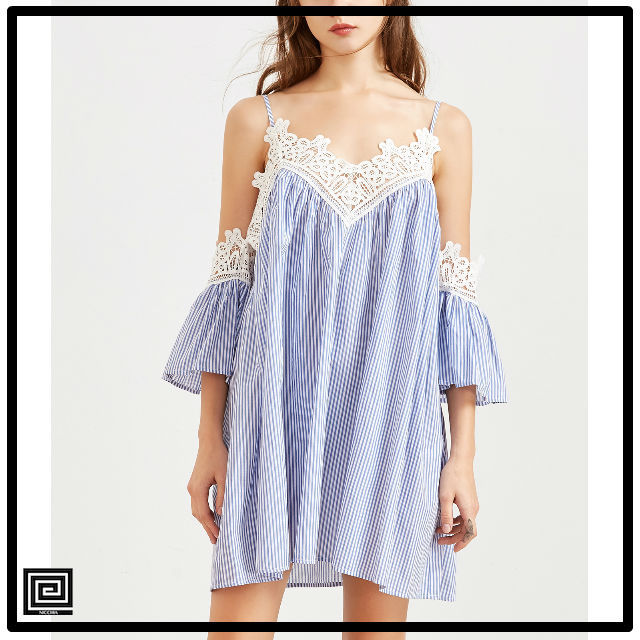 ブルーストライプレーストリムドレス