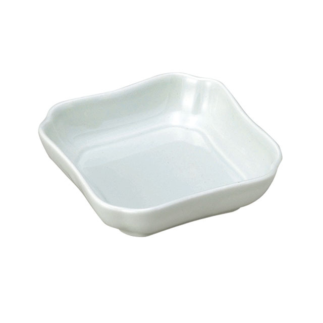 【2050-6220】花四角小鉢(11cm) 可愛いカタチの深小皿 アクア