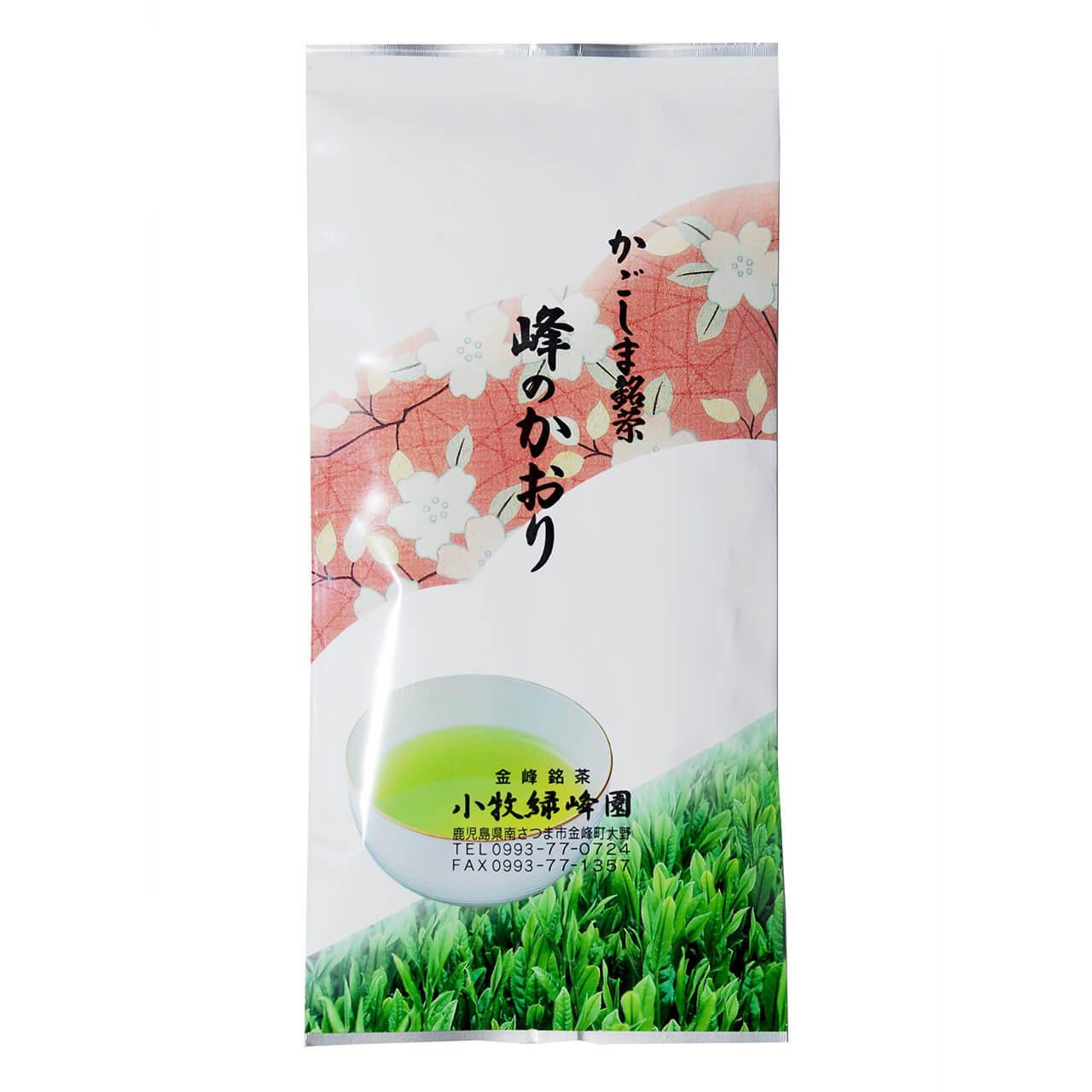 お茶 緑茶 お茶の葉 峰のかおり ピンク 100g 1袋 鹿児島 小牧緑峰園