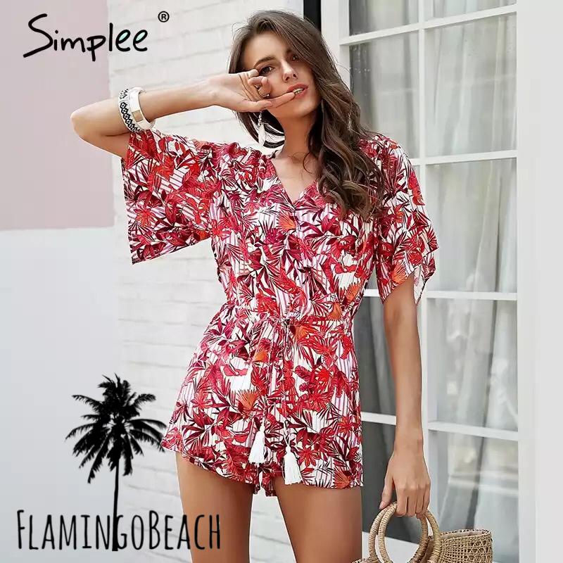 【FlamingoBeach】color leaf rompers ロンパース