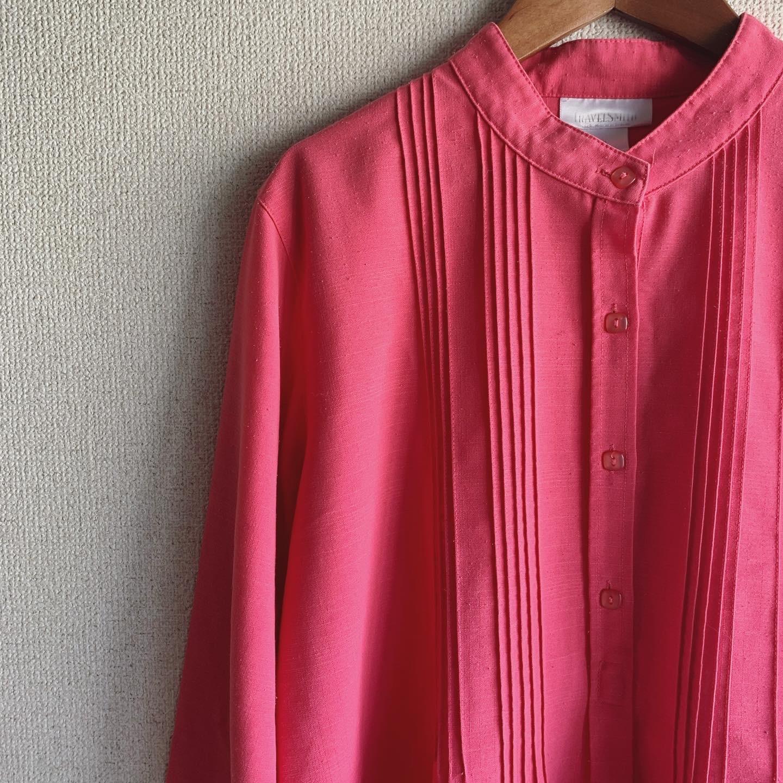 【SALE】vintage pink nocollar tops